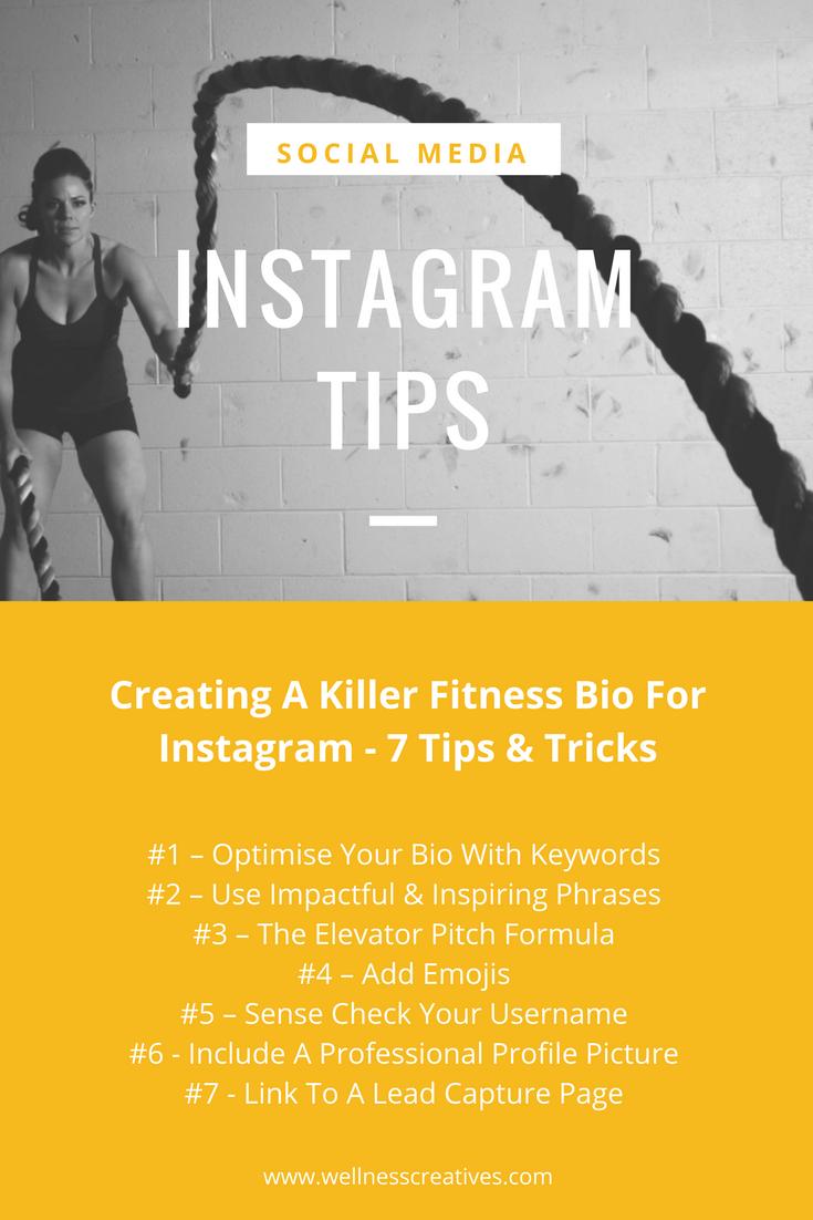 Fitness Bio For Instagram Tips List Fitness Marketing Personal Training Marketing Personal Trainer