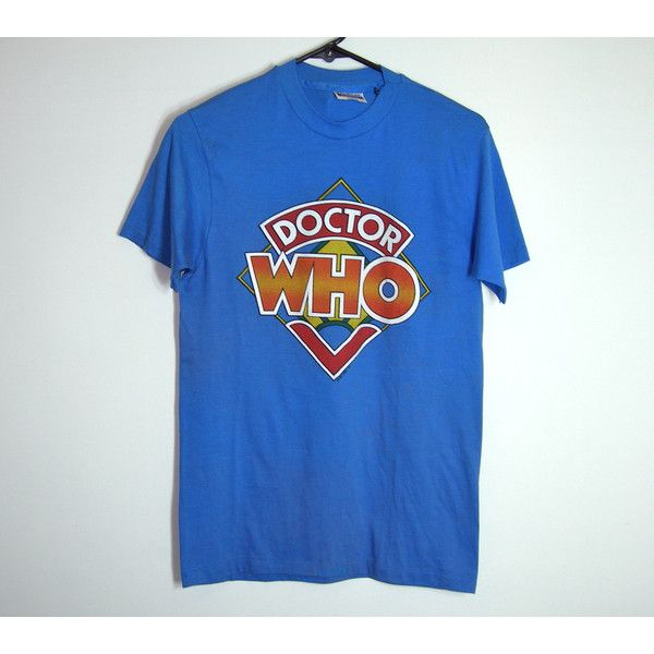 On Sale~1987 Doctor Who T Shirt thin 50/50 Blue, red, orange, green~... ($91) ❤ liked on Polyvore featuring tops, t-shirts, tee-shirt, 80s shirts, orange t shirt, orange shirt and david bowie t shirt