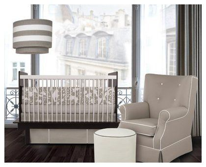 Oilo Modern Berries Standard Crib Set - Taupe -