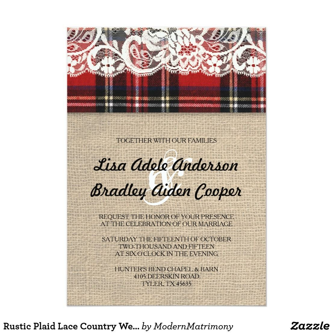 Small Ceremony Big Reception Invitations: Rustic Plaid Lace Country Wedding Invitation