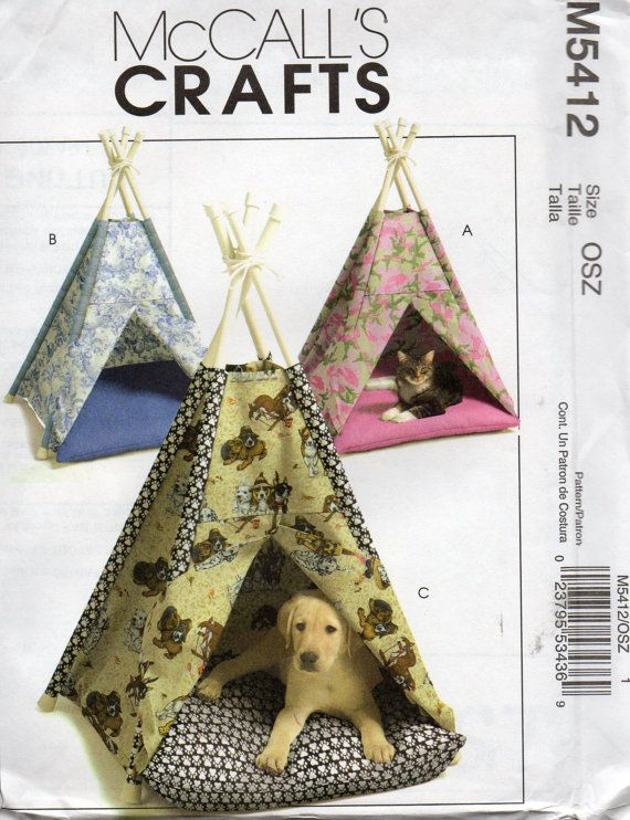 McCalls 5412 Dog Cat TENT and Pillow TeePee Small Animal Sewing ...