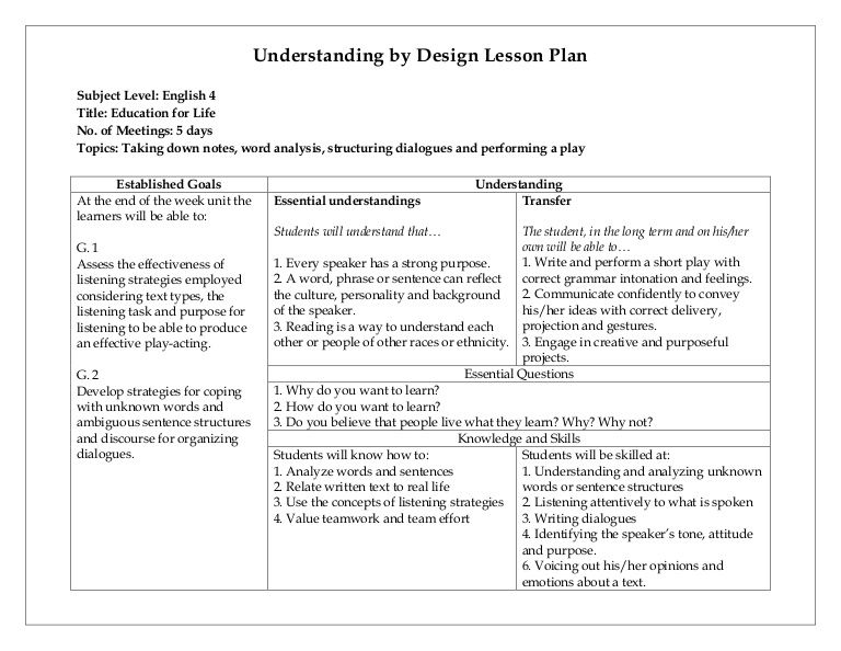 Understanding By Design Lesson Plan Education Pinterest - Ubd lesson plan template