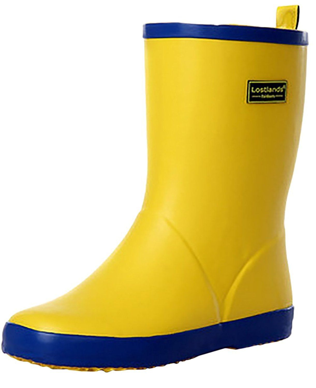 Womens Girls Cute Wide Mid calf Waterproof Rain Boot Anti-Skidding