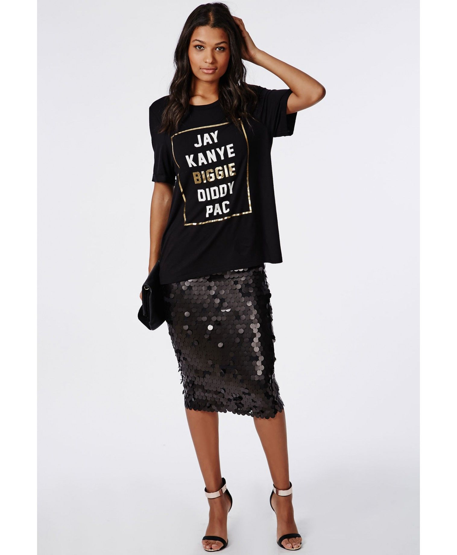 Circle Sequin Midi Skirt Black - Skirts - Missguided | Party ...