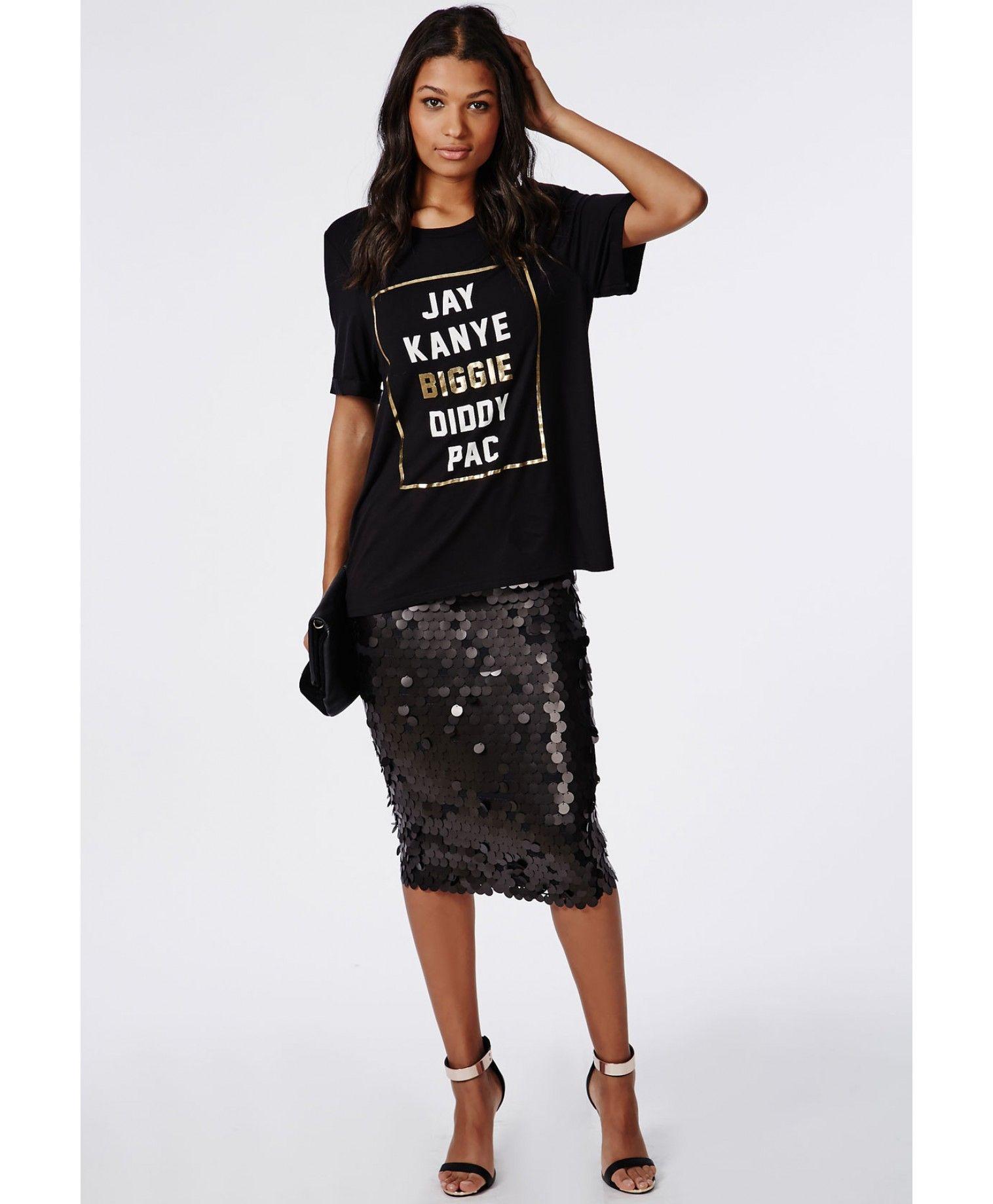 85560c98923d Circle Sequin Midi Skirt Black - Skirts - Missguided | Sequin skirt ...