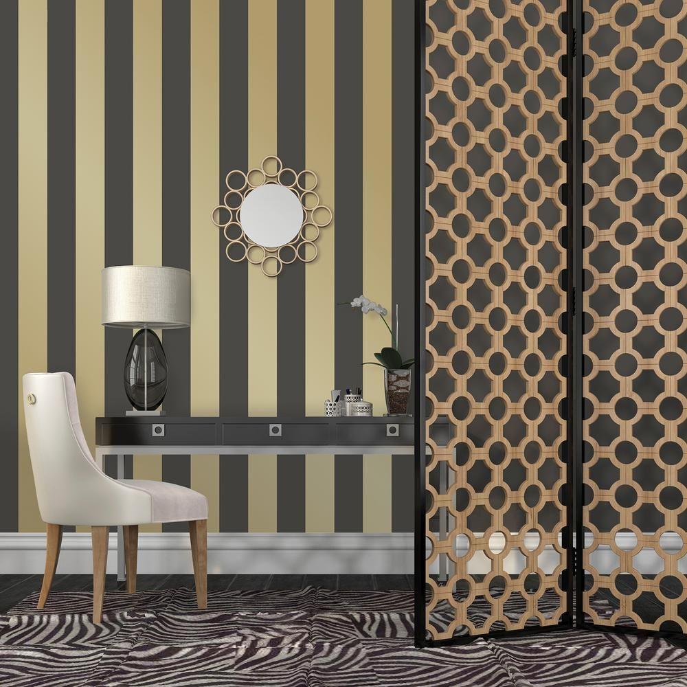 Tempaper Mini Stripes Gold Peel and Stick Wallpaper ST601