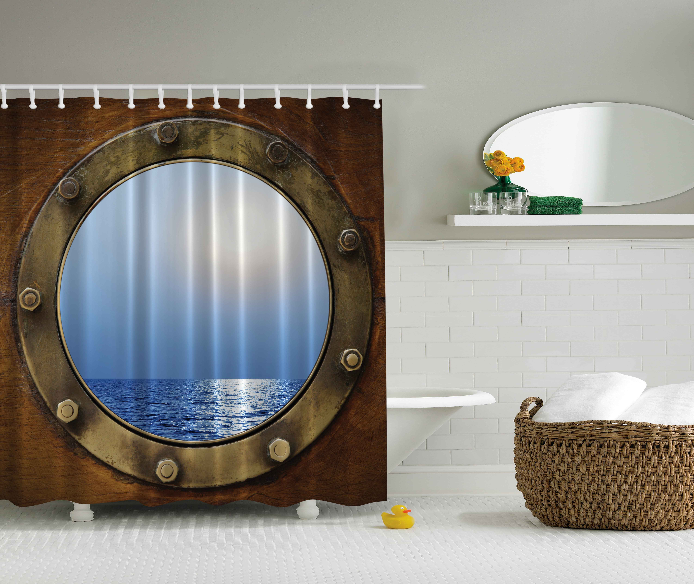 Ambesonne Nautical Theme Bathroom Decor Ship Porthole Print Polyester Fabric Shower Curtain