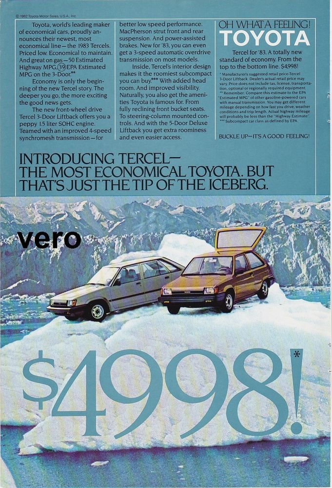 vintage TOYOTA TERCEL 1983 print ad magazine page clipping car ...