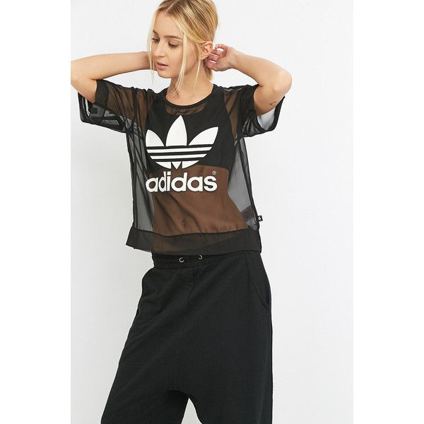 adidas Black Mesh Trefoil T-shirt (65 AUD) ❤ liked on Polyvore featuring tops, t-shirts, black, long sleeve mesh top, long sleeve crew neck tee, long sleeve crew neck t shirts, sheer long sleeve top and adidas t shirt