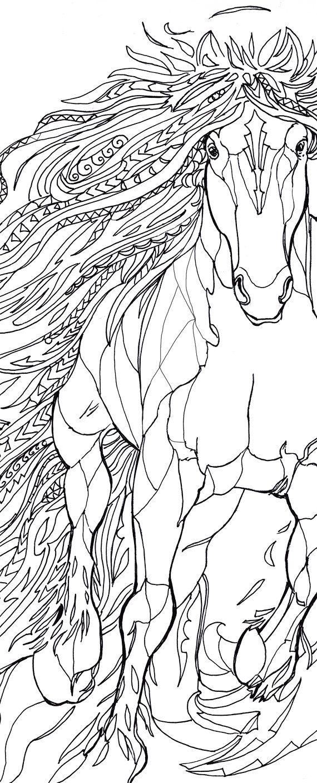 Horses coloring book printable adult coloring book clip art hand