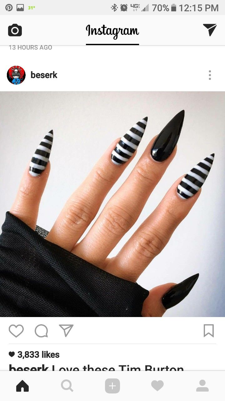 Black And White Striped Stiletto Nails For Halloween Striped Nails Stiletto Nails Designs Goth Nails