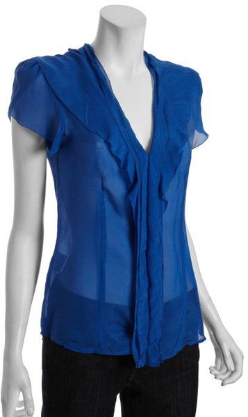 Image detail for -... Larkspur Blue Tonal Stripe Silk Crepe Ruffle Blouse in Blue - Lyst