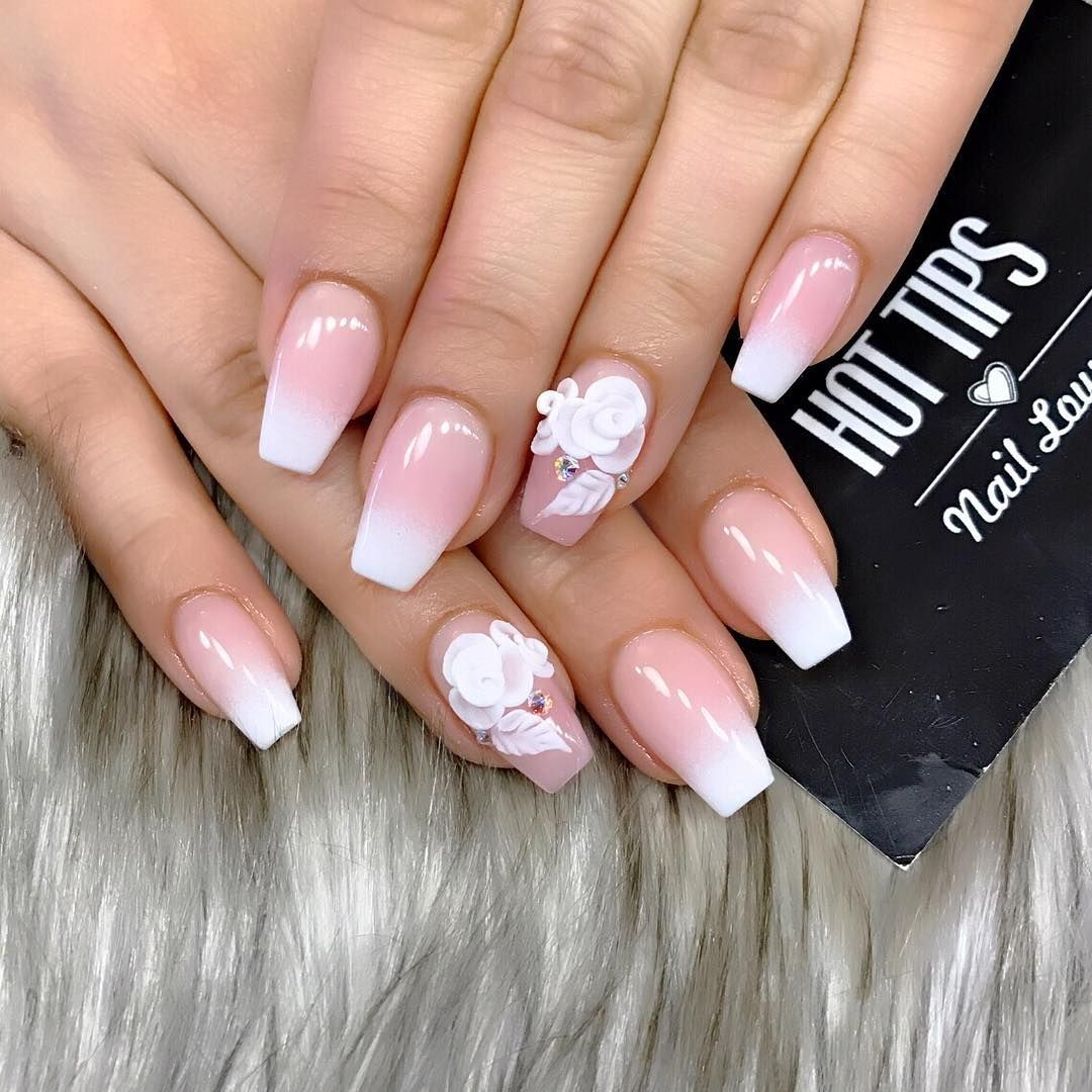French Ombre Have A Productive Thursday Rhinestone Nails Ombre Nails Nails