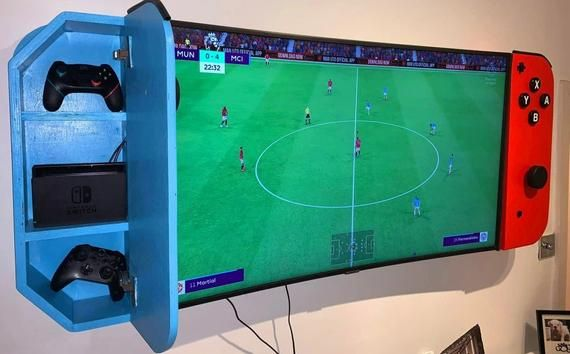 Nintendo Switch Tv Cabinet Wall Mounted Turn Your Tv In To A Nintendo Switch Video Game Room Design Game Room Design Boys Game Room