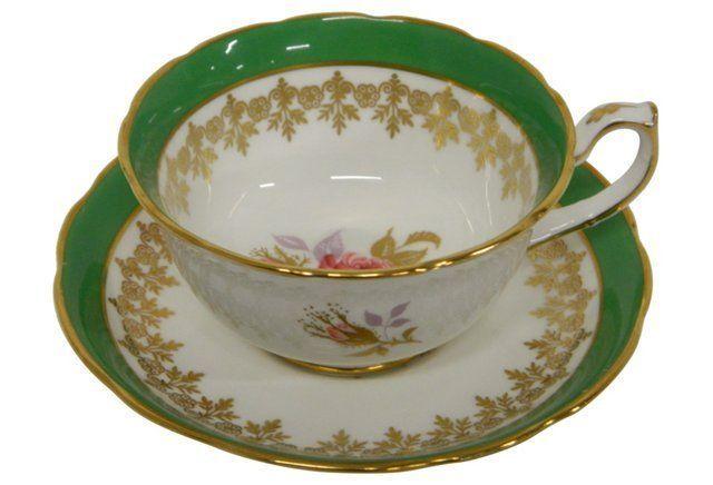 Gilt and Green English Tea Cup/Saucer