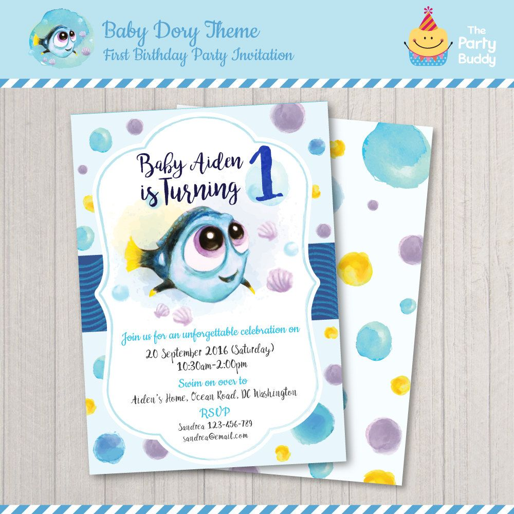 Baby Dory First Birthday Invitation Finding Dory Under The Sea - Email invitation for first birthday party