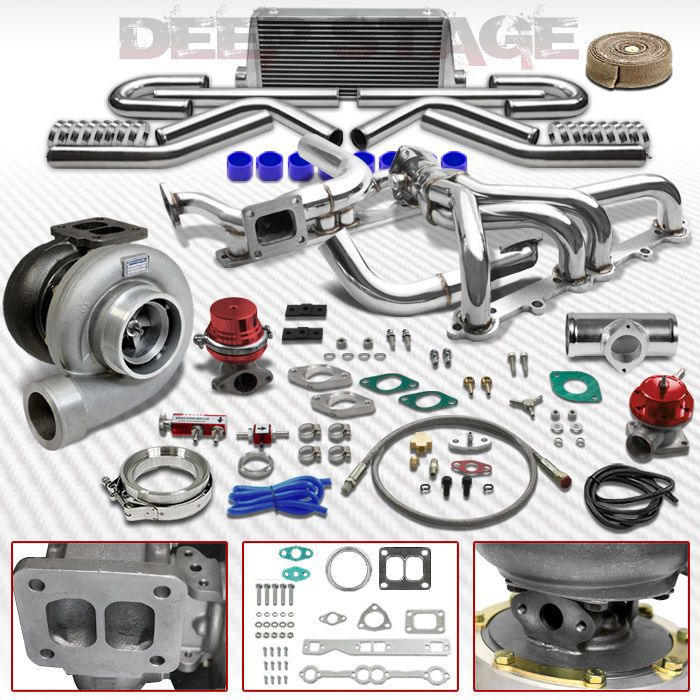 GT45 T4 11PC TURBO KIT W/INTERCOOLER+MANIFOLD+WASTEGATE CHEVY SMALL