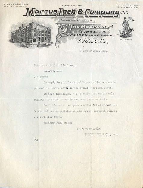 "Marcus Loeb & Company ""The Mechanic"" Overalls Letter, 1920"