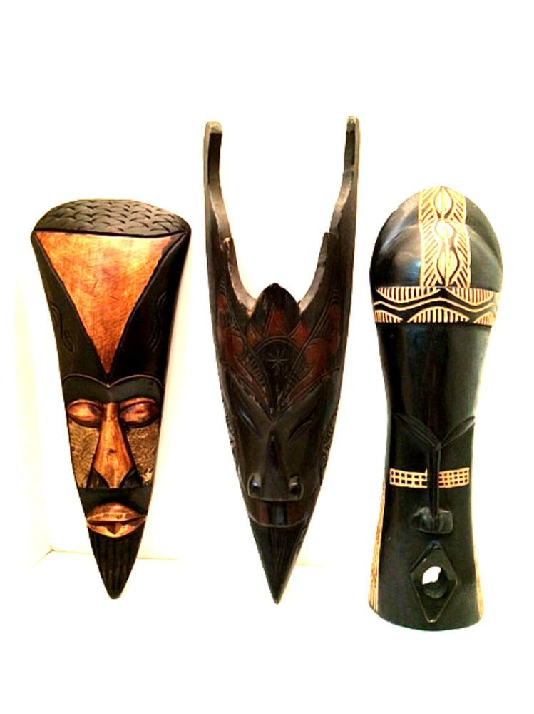Wooden Tribal Masks Hand Crafted in Ghana & Indonesia Vintage Home Decor