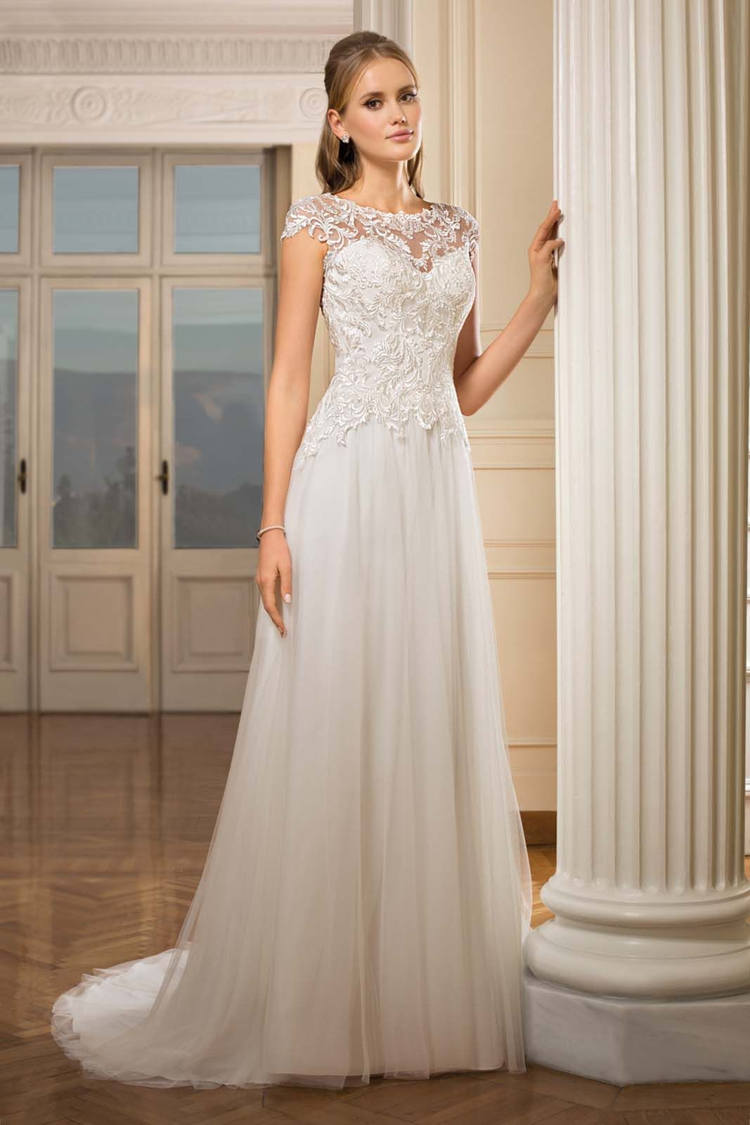 Wedding dress long sleeve  Wedding Dresses  Cosmobella  cut aline neckline illusion