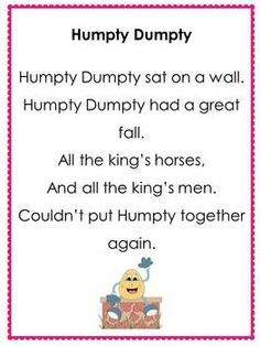 Humpty Dumpty Sat On The Wall Free Nursery Rhyme Posters