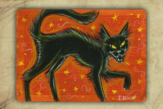 Vintage Halloween Inspired Mini Black Cat Painting Halloween - halloween design