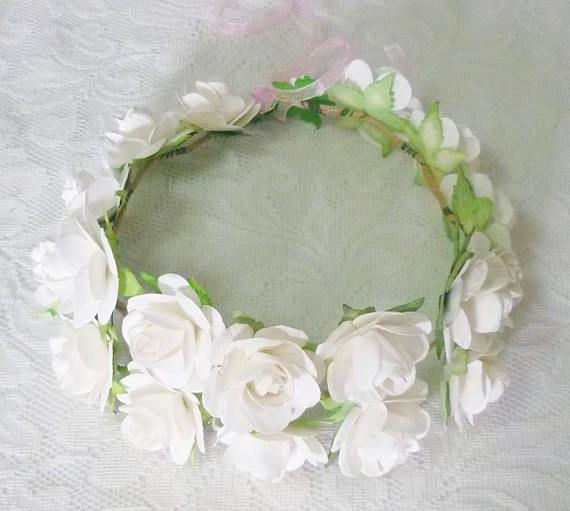 White Rose Flower Crown Baptism Flower Crown Floral Crown Paper Flower Crown White Rose Flower Rose Flower Crown