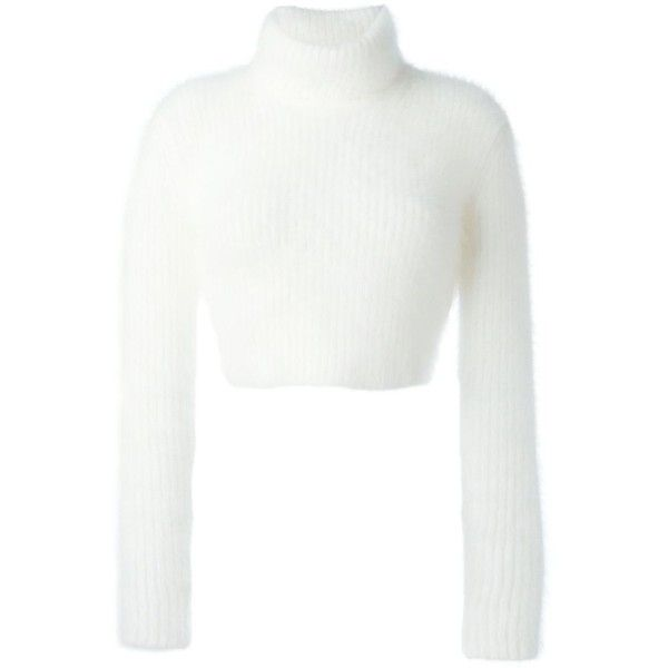 Roberto Cavalli Ribbed Cropped Sweater (10,465 MXN) ❤ liked on Polyvore featuring tops, sweaters, white, white cropped sweater, ribbed top, white crop top, crop top and roberto cavalli top