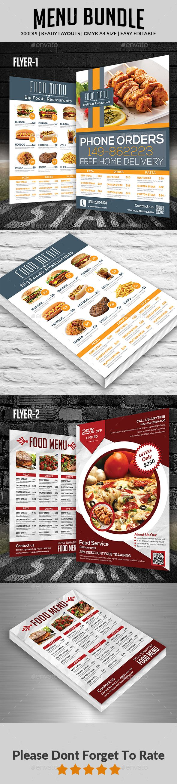Food  Menu Design Template Bundle  Food Menus Print Template Psd