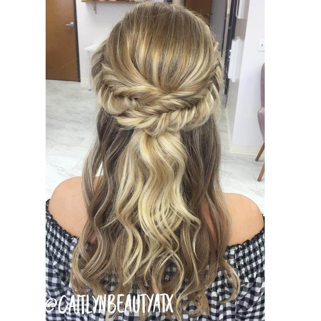 Dutch French Fishtail Braided Half Up Half Down Style Beautiful Boho Bridal Hair Caitlynbeautyatx Fish Tail Braid Braid Half Up Half Down Boho Bridal Hair