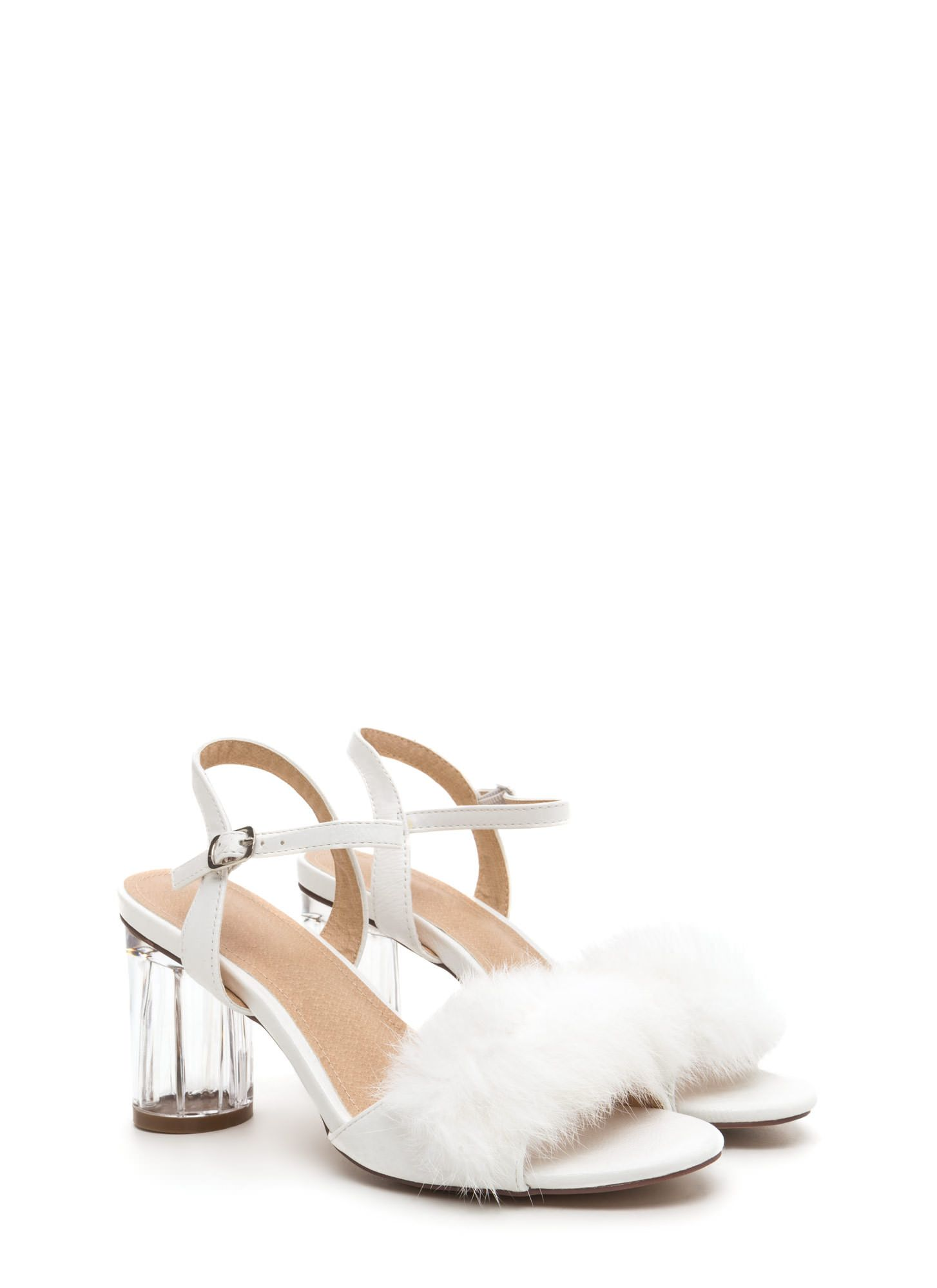 A Fur Clear Chunky Effort Heels WhiteShoes drexCBoW