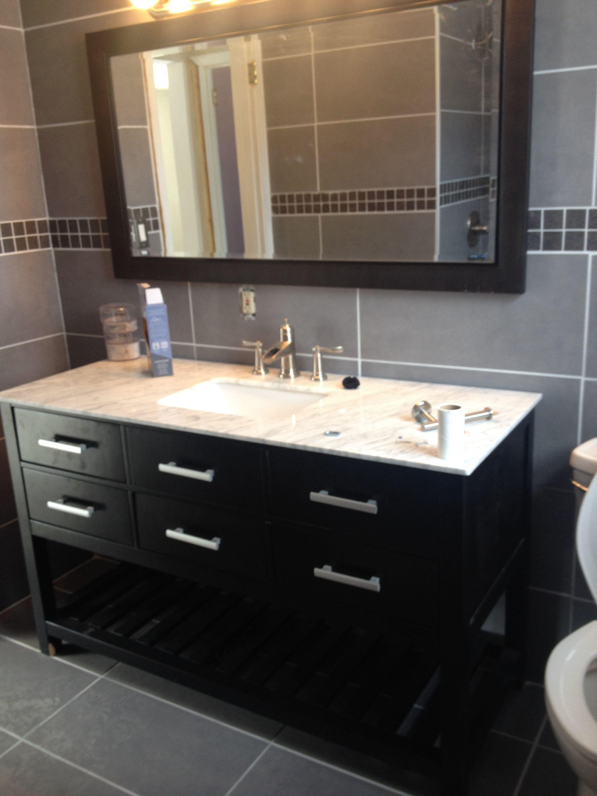 My new bathroom gray ceramic tile from stover - Bathroom vanity liquidation sale ...