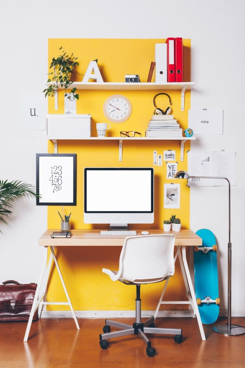 Small Home Office With Yellow Wall Accent Color in 2018 | Desk ...