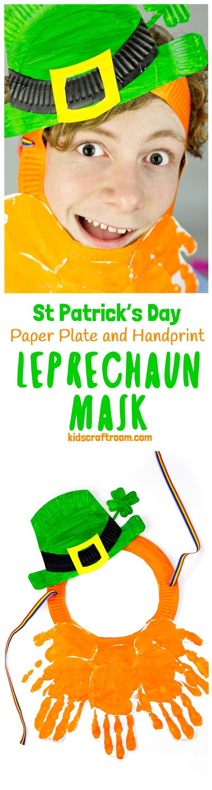 LEPRECHAUN MASK - This Paper Plate and Handprint Leprechaun Mask is such a fun St Patrick's Day craft for kids. Easy to make and fun for imaginative play as cheeky leprechauns! St Paddy's Day fun for everyone! #kidscraftroom #stpatricksday #stpattysday #stpatricks #saintpatricksday #stpatricksdaycrafts #leprechaun #mask #handprintcrafts #paperplatecrafts #handprint #paperplate #kidscrafts #craftsforkids #leprechauns #ireland #irishcrafts via @KidsCraftRoom
