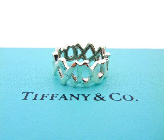 f480faba7 Authentic Tiffany Co Paloma Picasso XO Ring - Sterling Silver Tiffany Hugs  and Kisses Wide Band - Si