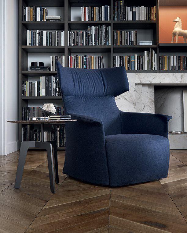 #SantaMonicaHome Armchair by #JeanMarieMassaud for #Poliform - #bluenavy #colordesign