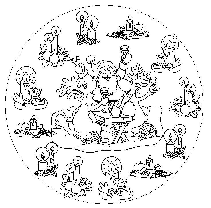 mandalas a colorier mandala-pere-noel | mandala | pinterest