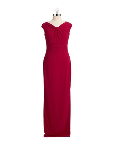 Womens Evening Gowns Twist Front Sheath Gown Hudsons Bay