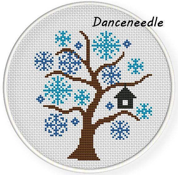 cross stitch pattern DIY  instant download modern cross stitch Set of 4 Hello 4 seasons