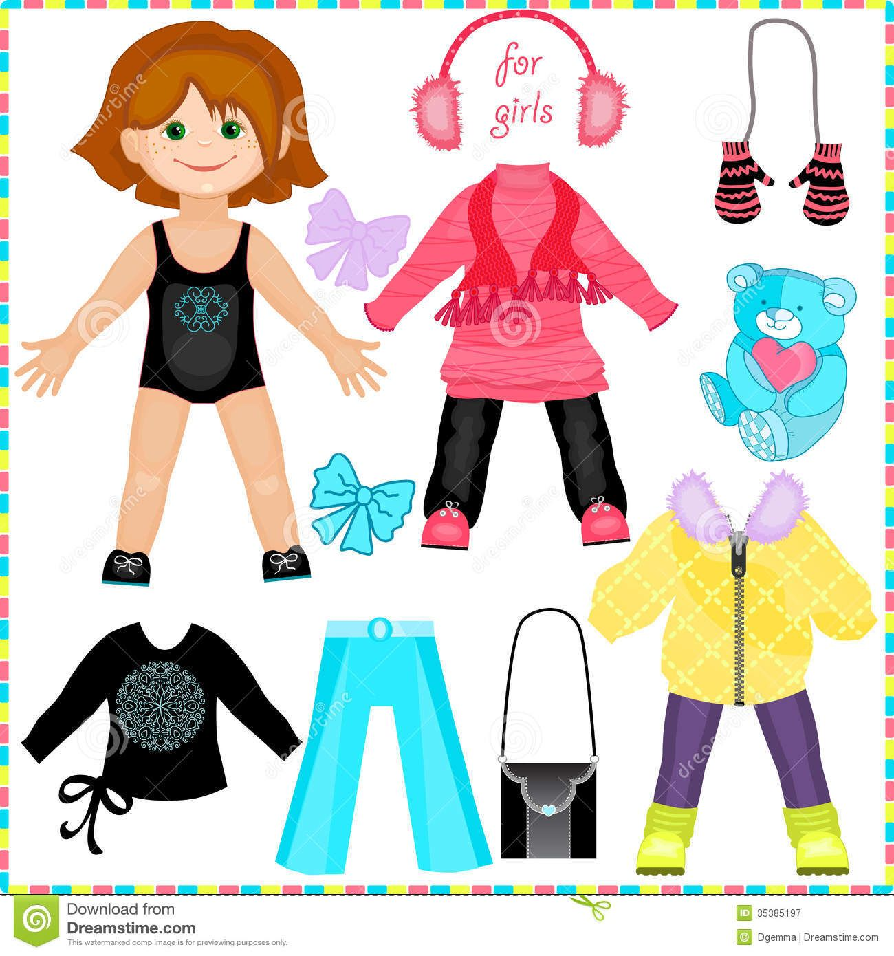 Cute Paper Doll Stock Vector