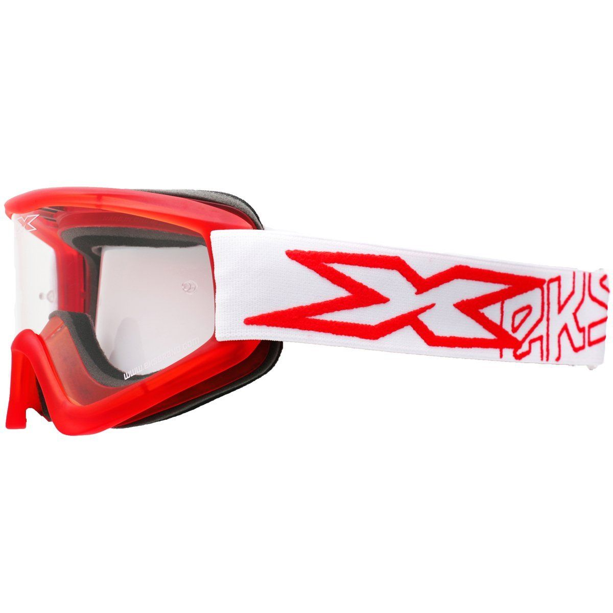 EKS Flat Out Motorcycle Goggles Mens Red//White With Clear Lens