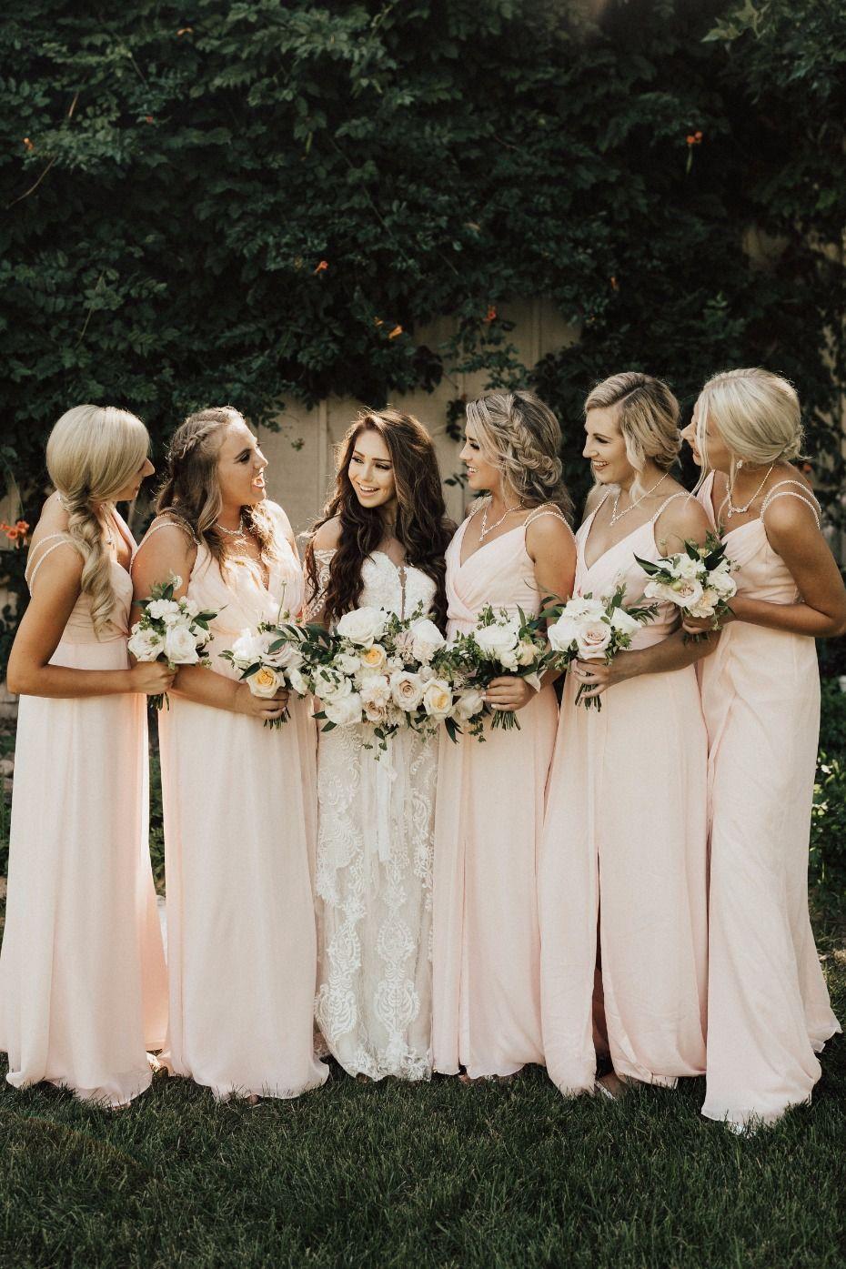 Our 15k Rustic Chic Idaho Wedding Peach Bridesmaid Dresses Rustic Bridesmaid Dresses Peach Bridesmaid [ 1395 x 930 Pixel ]