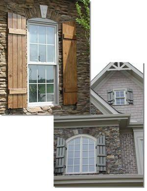 Stone home with cedar shutters batten shutters - Framed board and batten exterior shutters ...