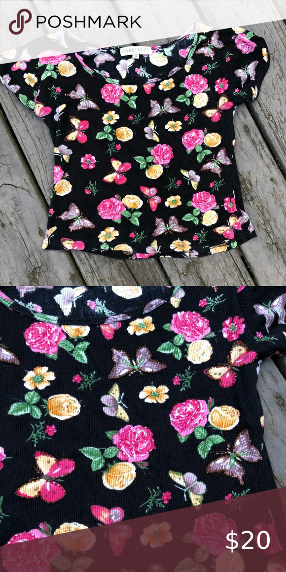 Vintage Y2k Floral Rose Butterfly Beaded Top Really Cute Floral Rose Print And Butterfly Top Beaded But A Few Beads Are Miss In 2020 Beaded Top Floral Rose Print