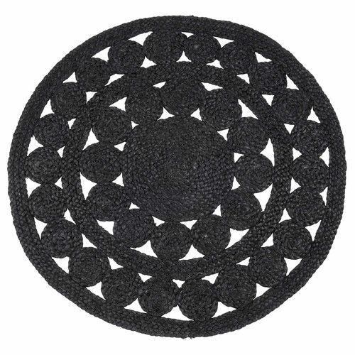 tapis rond en jute noir d 90 cm b ne d co black rug rugs et floor rugs. Black Bedroom Furniture Sets. Home Design Ideas