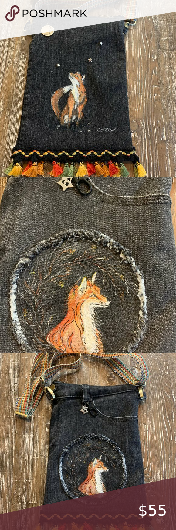 Handmade Hand Painted Fox Crossbody Purse NEW Sweet Purse - Hand painted fox looking a moon charm. Painted on black denim jeans. Great colors in trim and strap. Jean pocket used on one side to hold cell phone, glasses, etc. with key clasp and star charm added to jeans belt loop. Zipper closure, lined inside with zippered pocket. Adjustable strap for crossbody wear. 7.25