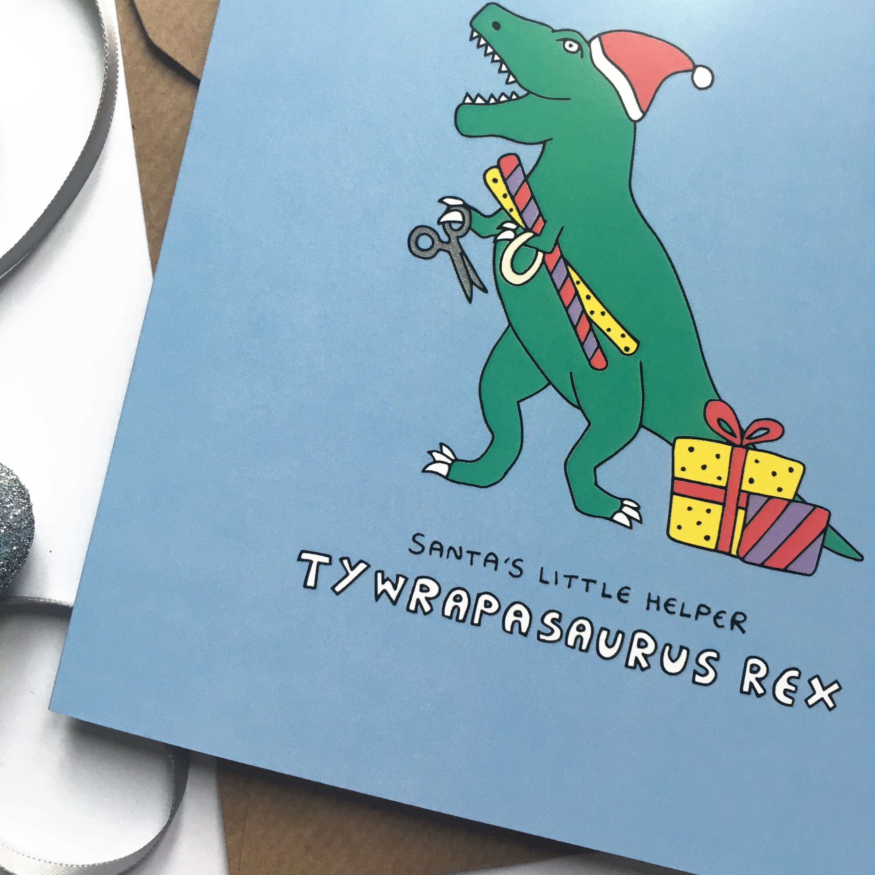funny christmas card with dinosaur pun in 2021  christmas