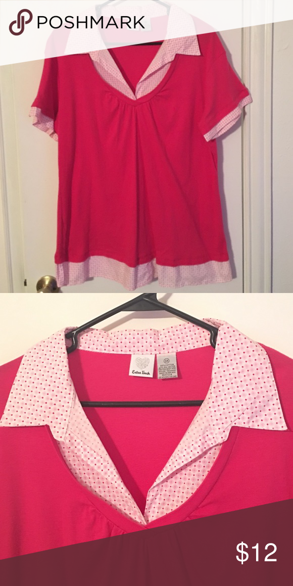 """Extra Touch brand Pink Double Layer Casual Blouse Extra Touch brand. Pink, soft cotton fabric, double layer blouse. It's just 1 shirt, it's not 2 separate pieces, the collared """"shirt"""" is only fabric in the places shown to give it the double layer look. NWOT Extra Touch  Tops Blouses"""