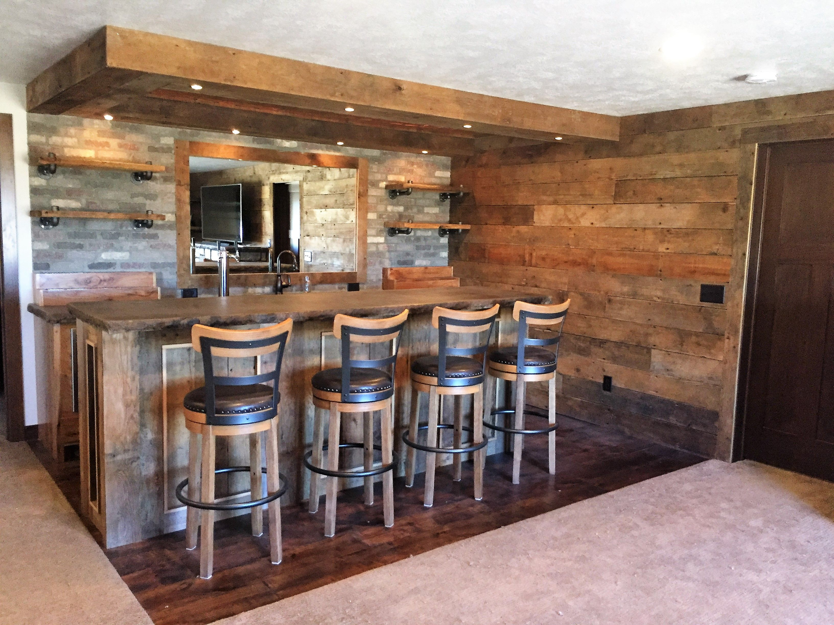 rustic basement bar with concrete bar top copper ceiling tiles reclaimed wood brick wall. Black Bedroom Furniture Sets. Home Design Ideas
