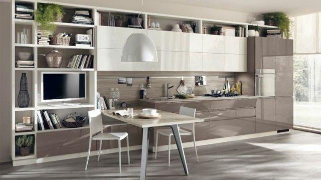 cuisine ouverte sur salon de design italien moderne - Cuisine Ouverte Sur Salle A Manger Et Salon
